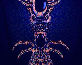 Magic Alien Totem psychedelic fluorescent backdrop