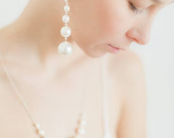 White Pearl Earrings, Gift for her, Wedding Jewelry