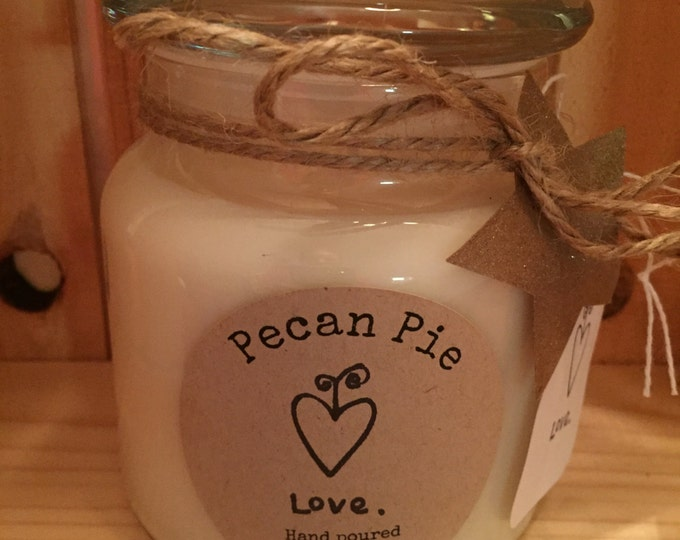 Handmade, Hand Poured, all Natural, Unique, PECAN PIE scented, 100% Soy Candle in a 16 oz. glass apothecary Jar with a Cotton Wick