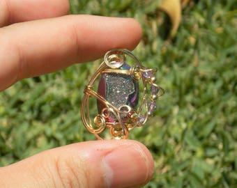 Titanium Druzy Agate and Swarovski Crystal 14k Gold Filled Wire Wrap Pendant