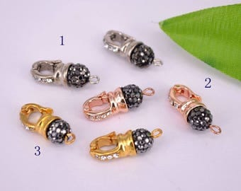 15Pcs Fashion Pendant Bails, Plated Rose Gold Pave Crystal Rhinestone Pendant Beads, Jewelry Findings
