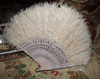 Antique VICTORIAN Edwardian Pink Silver Cream Curly OSTRICH Feather Fan
