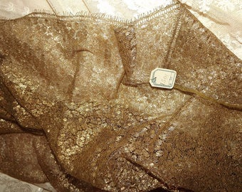 """Rare ANTIQUE French Gold METALLIC Overlay Scalloped Lace Floral FABRIC Trim 35"""" wide x 39"""" long Flapper Era"""