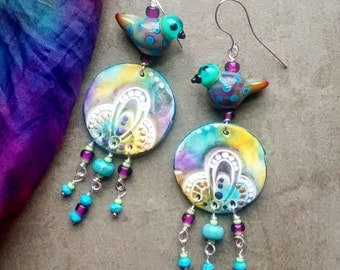 RESERVED Sold Anita Springtime Birdy chandelier earrings Artisan handmade original lampwork beads, clay components, original jewelry boho