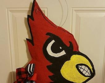 Cardinal fans burlap door hanger & Louisville wreath | Etsy Pezcame.Com