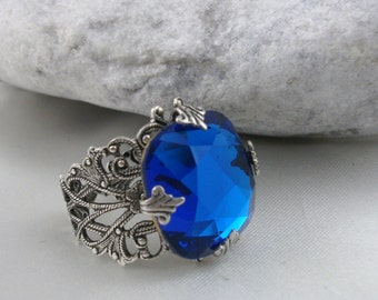Vintage Style Swarovski Crystal Filigree Ring.Art Nouveau Style Filigree Capri Blue Crystal Ring ,Gift For Her, Valentine Gift For Her,