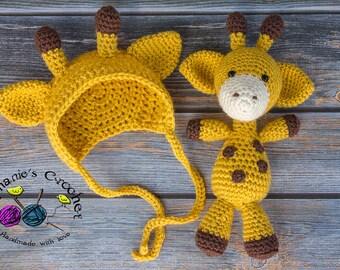Crochet Newborn baby giraffe bonnet & giraffe set crochet Newborn photo props photography boy/girl- Made to order