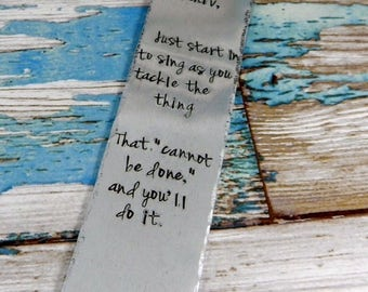 Hand stamped metal bookmark, personalised with a message of your choice