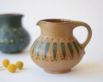 Dybdahl Denmark - jug / pitcher - handpainted feather / leaf decor - brown - Danish mid century pottery