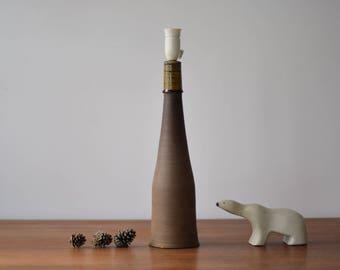 """20"""" Huge! Kähler HAK Denmark - lamp base - brown & amber - Nils Kähler - Kahler - Danish midcentury pottery"""
