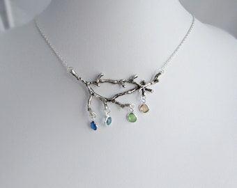 Birthstone Necklace, Family Necklace, Branch Necklace, Twig Necklace, Big Branch Necklace, UK Seller, For Sister, BFF, Bridesmaid Gifts