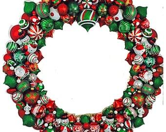 Red White Green Christmas Wreath, Ornament Bulb Wreath, Extra Large Wreath, OOAK Snowman Christmas Bulb Wreath, 28 inch Diameter