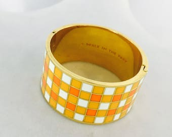 Kate Spade Idiom Cuff Bracelet in Orange, Yellow, White, and Gold, A Walk in the Park, Cuff Bracelet by Kate Spade