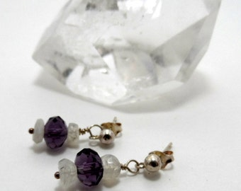 vintage amethyst and moonstone earrings, sterling silver posts