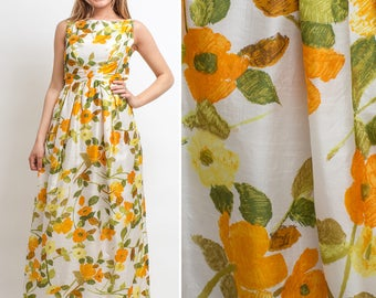 FLORAL 60s FORMAL Satin SPRING Summer Dress Floral vintage Maxi dress
