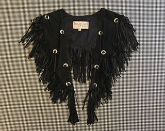 1990's, suede, fringe, mini-shawl, in black, with silver, conch buttons
