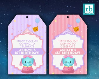 Carnival Favor Tags, Tsum Tsum Favor Tags, Carnival Tsum Tsum Party, Dumbo Favor Tags, Tsum Tsum Party, Dumbo - Digital Printables