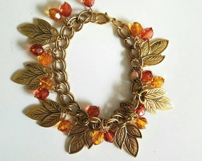 Orange and Red Beaded Gold Leaf Double Chain Fall Bracelet