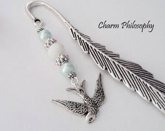 Swallow Bookmark - Custom Beaded Bookmark - Personalized Bookmark - Bird Bookmark