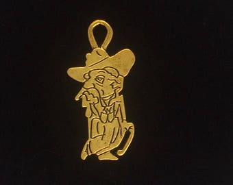 Large Colonel Rebel Old Cowboy Mascot Pendant Charms 12 pieces 37x18mm Antique Gold Finish 9-20-G