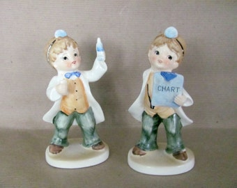 Vintage Boy Doctor Figurines, 1960's Japan Playing Doctor Figurine, Gift For Him, Boy, Mid Century Decor