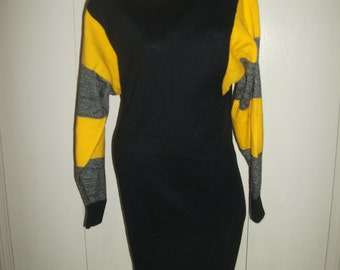 Vtg 80s Acrylic Batwing Long Maxi Dress Sweater Turtleneck M
