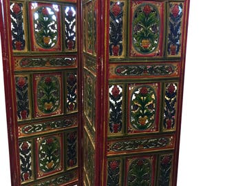 Vintage Hand carved Hand painted 4 Panel Floral Handcrafted Wood Room Divider Screen from Jaipur India
