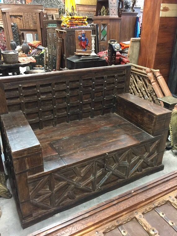 Antique diwan indian bench teak sofa hand carved iron patina for Diwan for sitting