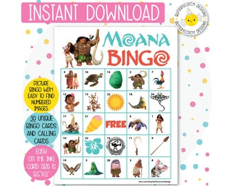 Moana Printable Bingo Cards (30 Different Cards) - Instant Download