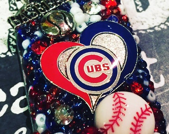 Unique Chicago Cubs Inspired Rhinestone Heart Bling Embellished Necklace - World Series - Cubs Jewelry - Cubs Necklace - Baseball Jewelry