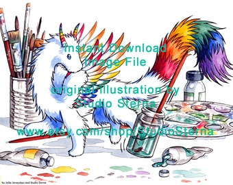 Rainbow Dragon watercolour painting colorful digital image printable instant download card fantasy design yellow orange red cute art