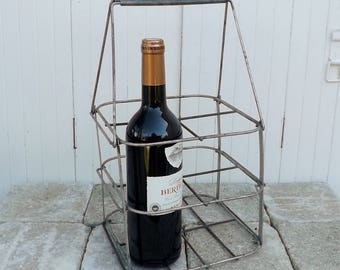 Bottle carrier folding vintage French wine bottle holder 4 bottle carrier galvanized kitchenalia French country home decor French kitchen