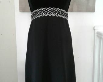 Black velvet 1960s dress with diamante trim