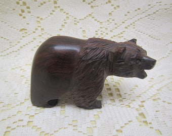 Carved Wood Bear , Black Walnut ??? carved Bear