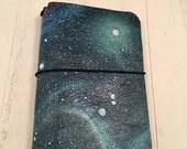 PocketJot - handpainted Galaxy (1D) - Field Notes Size Traveller's Notebook