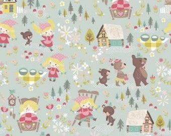 Goldilocks and Three Bears in Teal Fabric