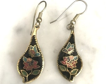 Vintage Leaf Black Enamel Earrings