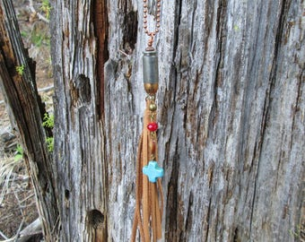 Tassel Bullet Charm Necklace with turquoise cross, Ammo Jewelry, Bullet Necklace, Leather Necklace