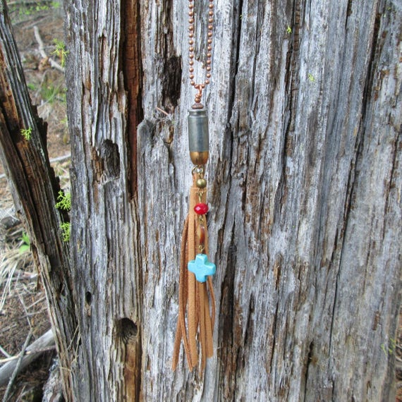 Tassel Bullet Charm Necklace with turquoise cross