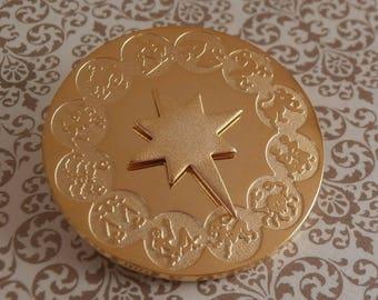 Vintage Zodiac Horoscope Pin Brooch Adjustable Sun Dial Center ~ Signed Cerrito Jewelry ~ 22K Gold Plate ~ Vintage Zodiac Sign Retro 1970s