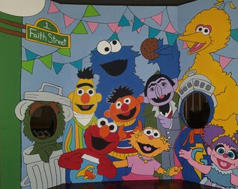 Sesame Street Hand Drawn & Painted Photo Op Display / Cutout Board!