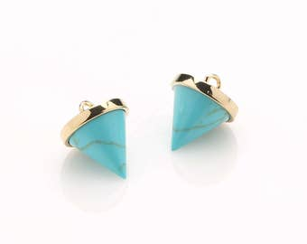 1086011 / Turquoise / Inverted Cone / 16k Gold Plated Brass Framed Synthetic Stone Pendant  10mm x 12.7mm / 1.4g / 2pcs