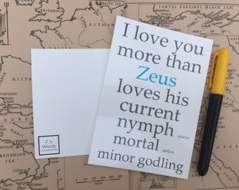 I Love You More Than Zeus Loves... Greek Mythology Postcard Art Print Gift Tag Limited Stock