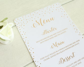 Personalised Wedding Menu for Wedding Breakfast/Wedding Reception Confetti Design in Gold/Silver/Rose Gold/Champagne Gold/ Colour Foils