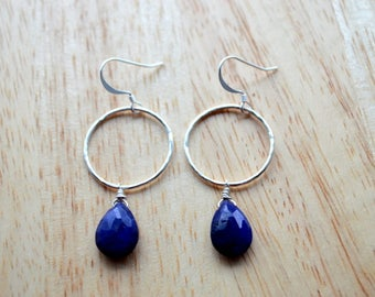 DYED BLUE SAPPHIRE Earrings- Hand Wire Wrapped Sapphire Earrings in Sterling Silver- September Birthstone