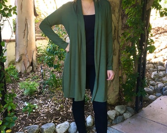Plus Size GREEN Cardigan, Long Cardigan, Plus Size, Cardigan, GREEN Cardigan, Maxi Cardigan,  S/ M  L/XL  Plus