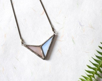 Pastel arrow stained glass pendant