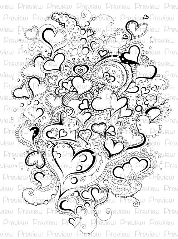 Adult Coloring Page Heart Mandala Book Printable Digital Instant Download Colouring Love Romantic Pretty Digi Stamp Pages Lineart Kids