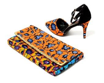 Floral Fabric clutch purse, Ankara fabric clutch purse, Orange clutch purse, Blue Evelope Clutch, gift for her
