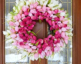 Spring Tulip Wreaths - Wreaths - Summer Wreath - Easter wreaths- Pink Tulips - Front door decor - Wedding Wreath - Easter decorations